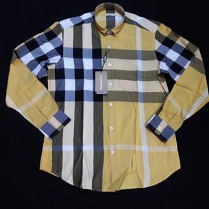 NEW BURBERRY BRIT MEN CASUAL YELLOW SHIRT